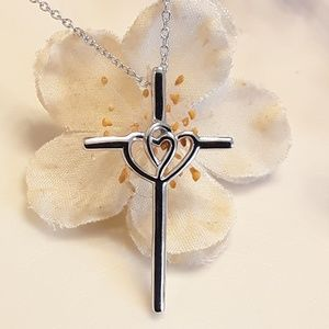 Jewelry - NEW S925 Heart Song Cross Necklace